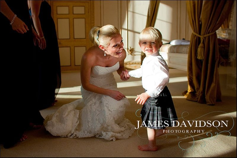 Bride with page boy in a kilt