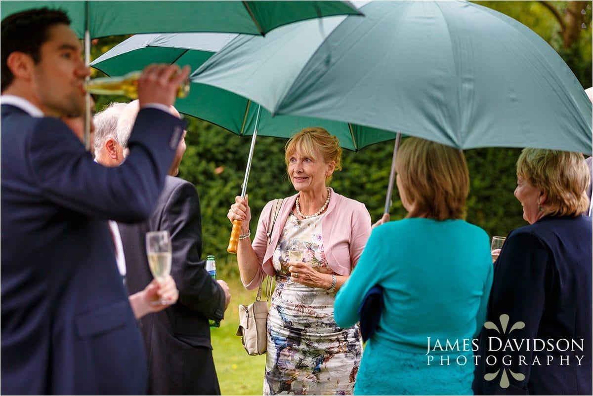 umbrellas at a wedding