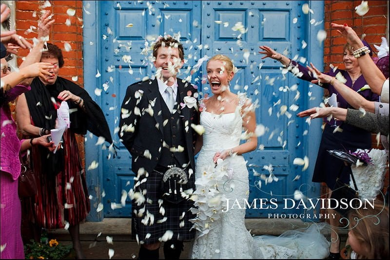 throwing confetti at gosfield hall