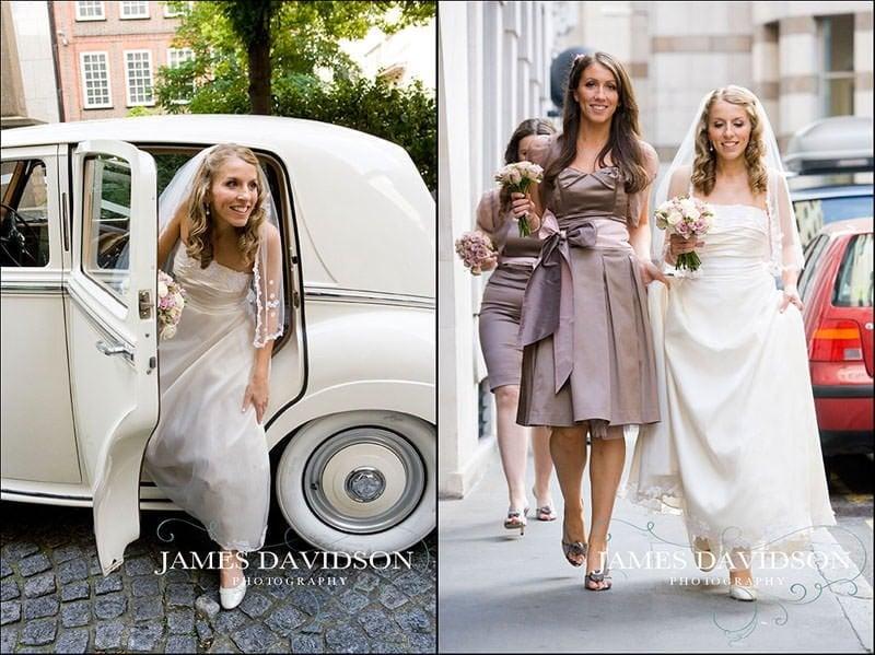 bride arriving at St Brides