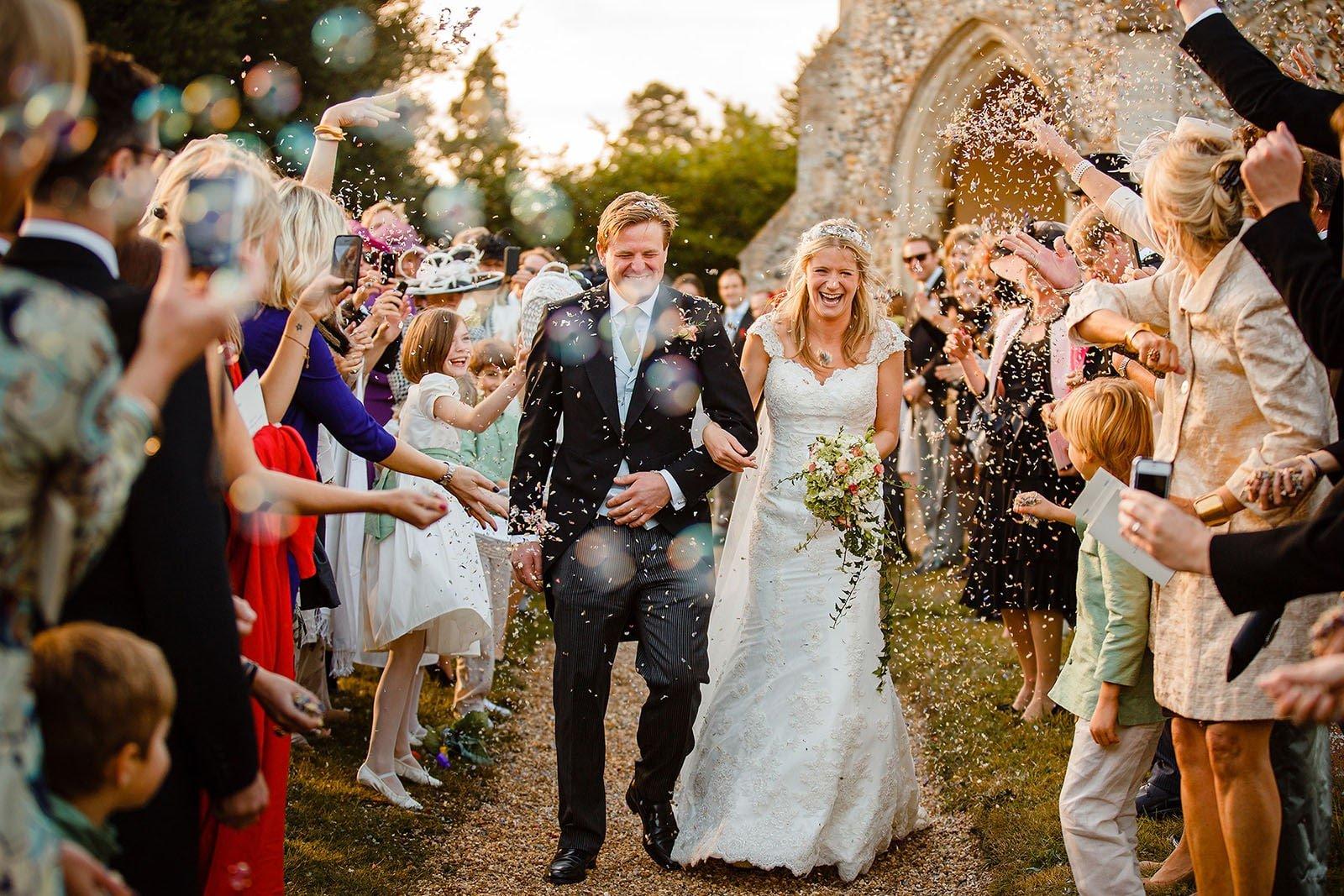 Confetti line at a Suffolk wedding