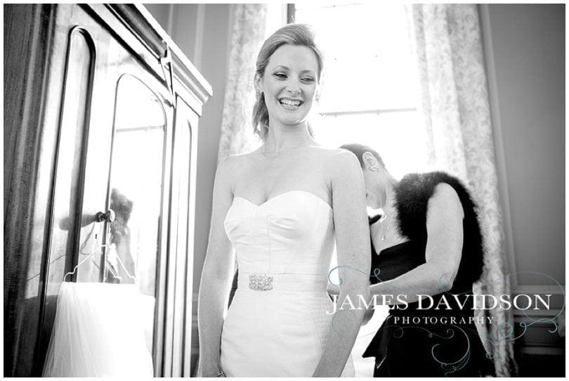 bride getting ready at suffolk wedding