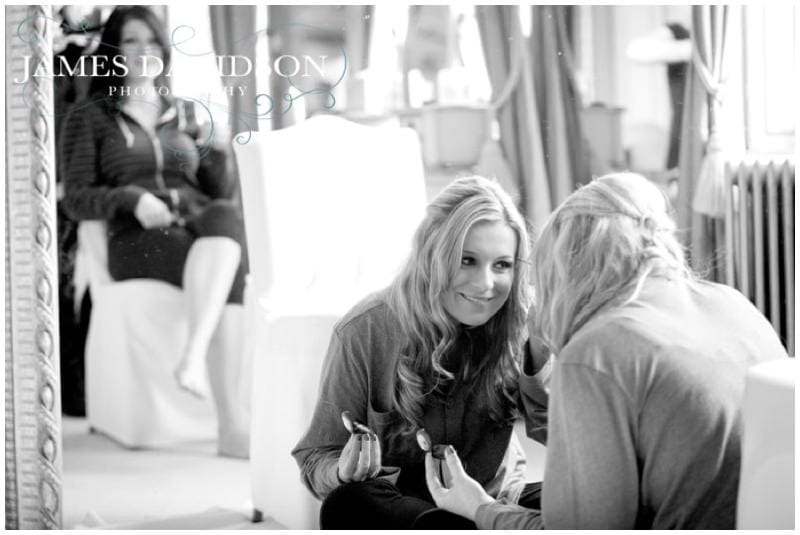 bride getting ready in bridal suite gosfield hall