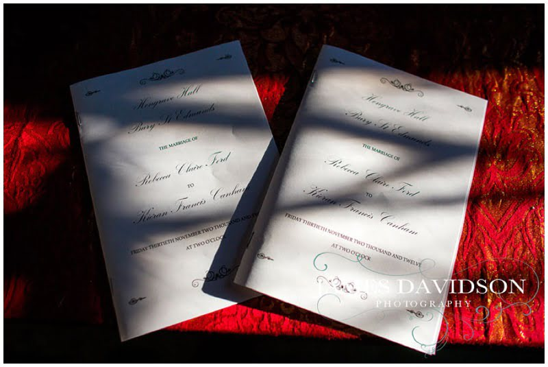 order of service for hengrave hall wedding