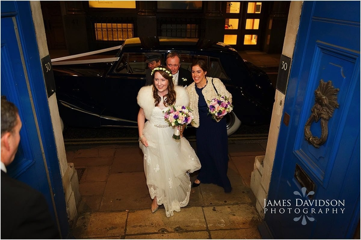 bride arriving at Merchant Taylors Hall