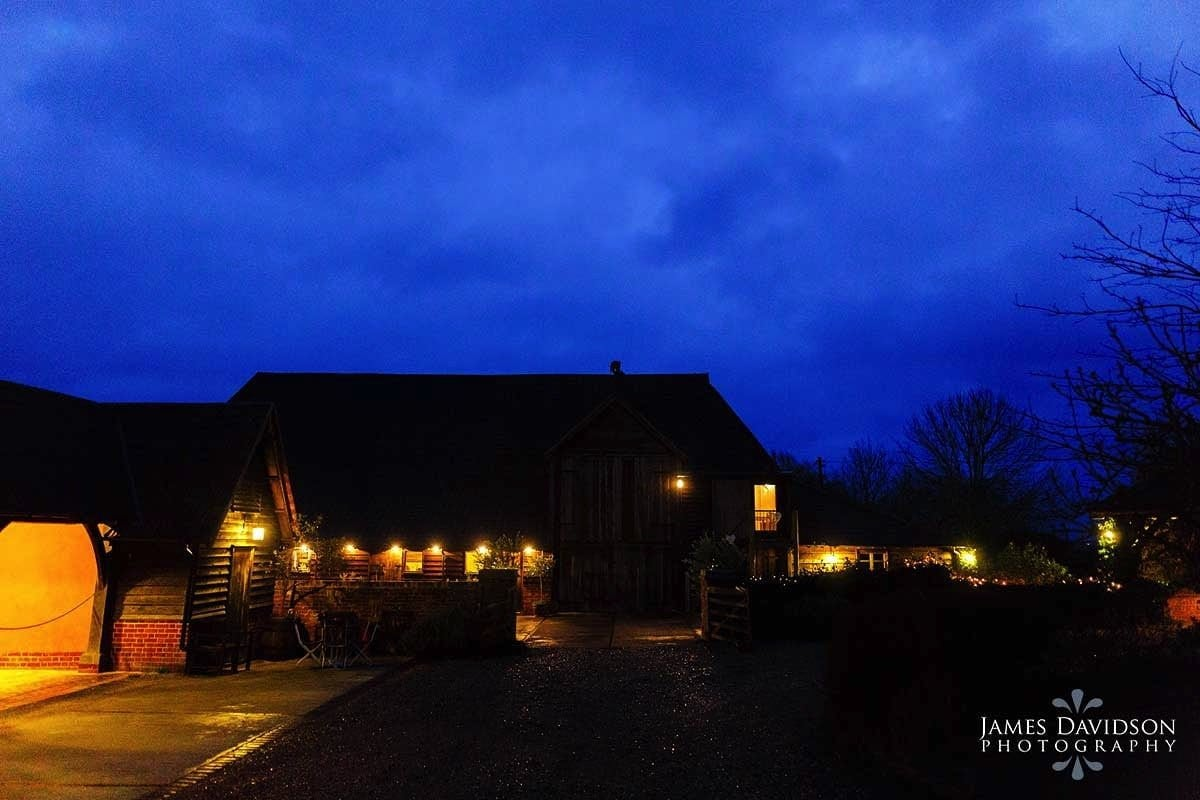 Moreves Barn at night