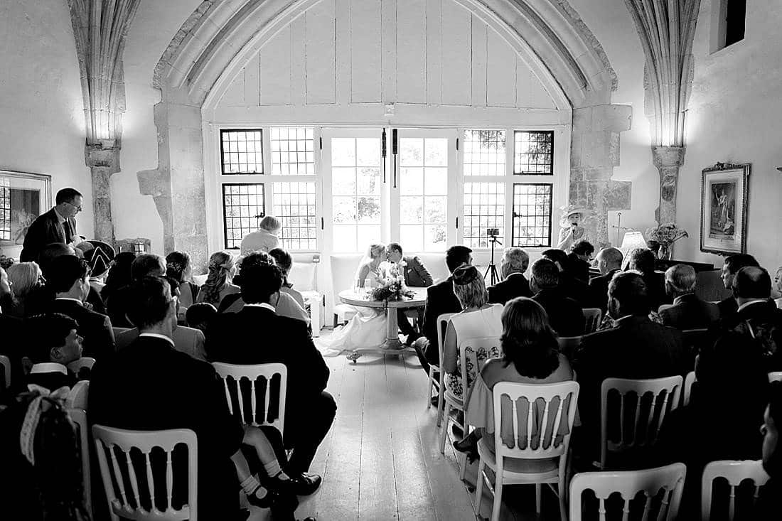 Butley Priory wedding first kiss
