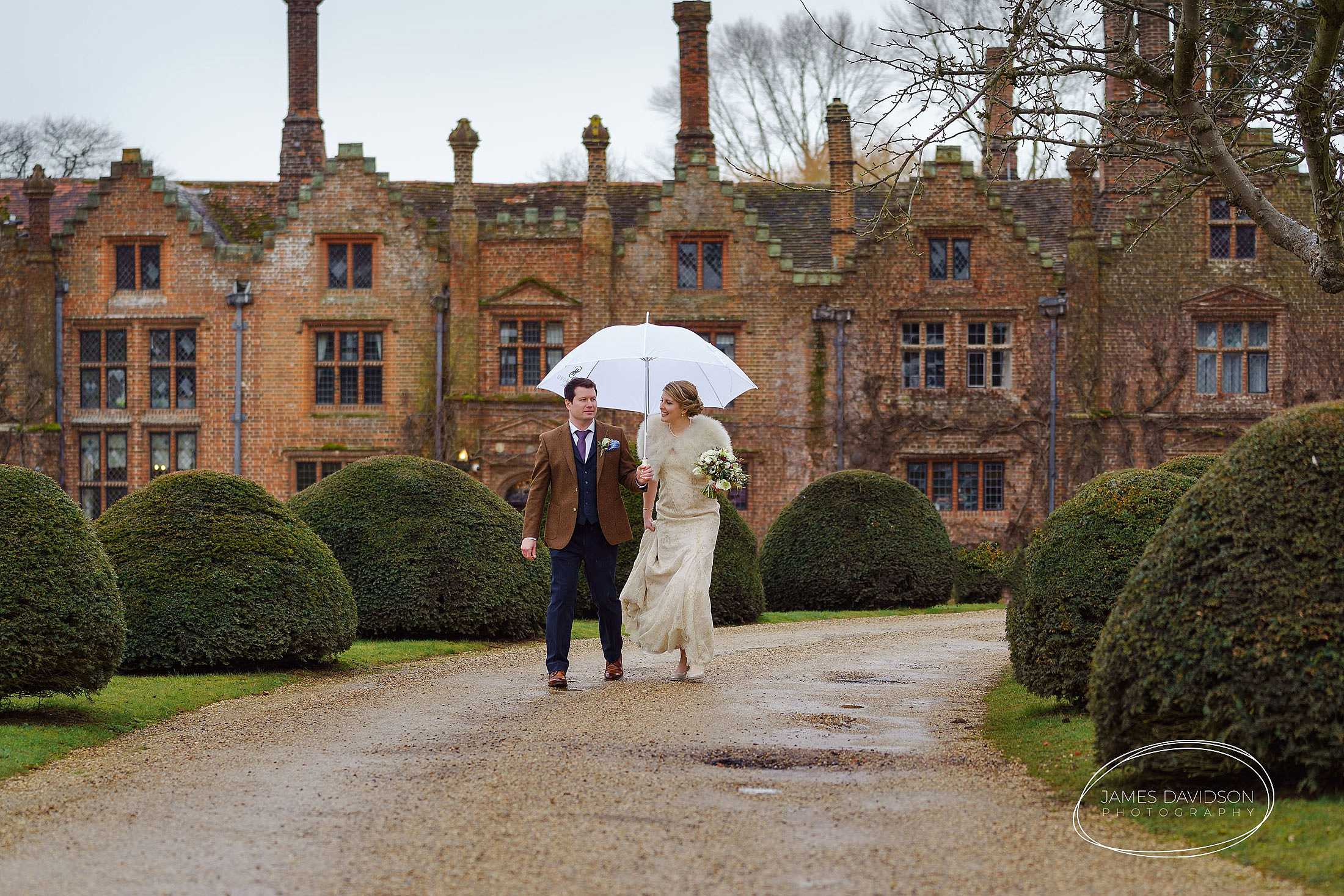 Seckford Hall rainy day wedding