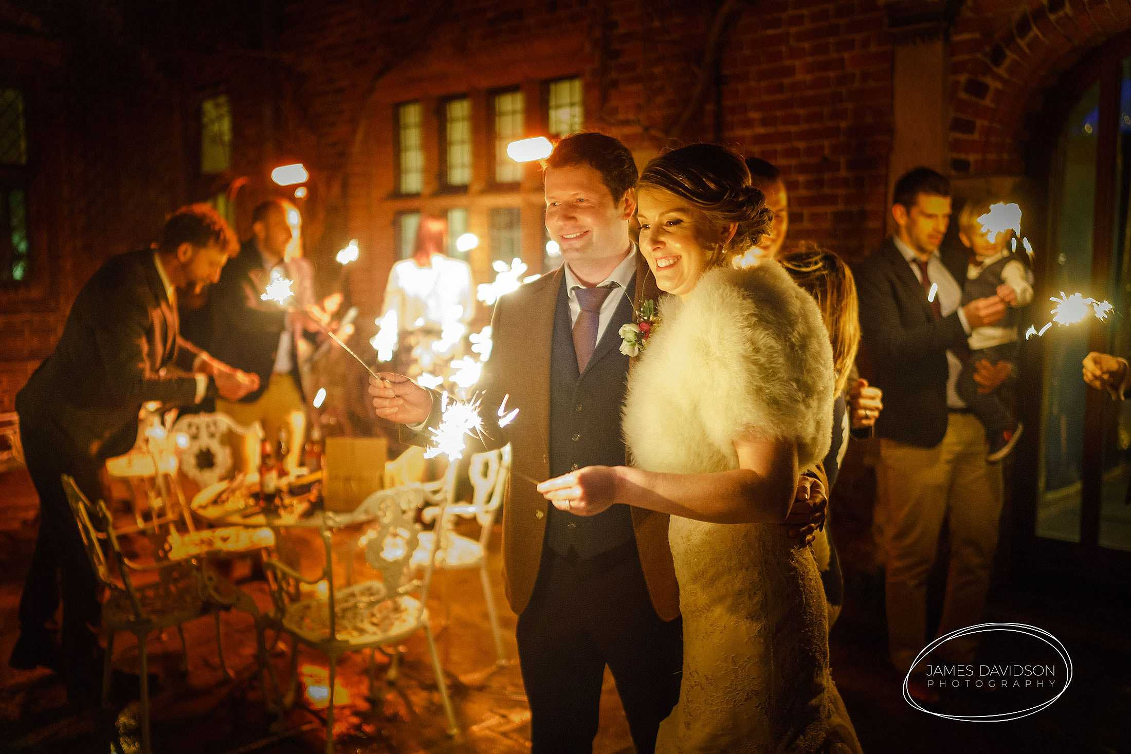 Seckford Hall wedding sparklers
