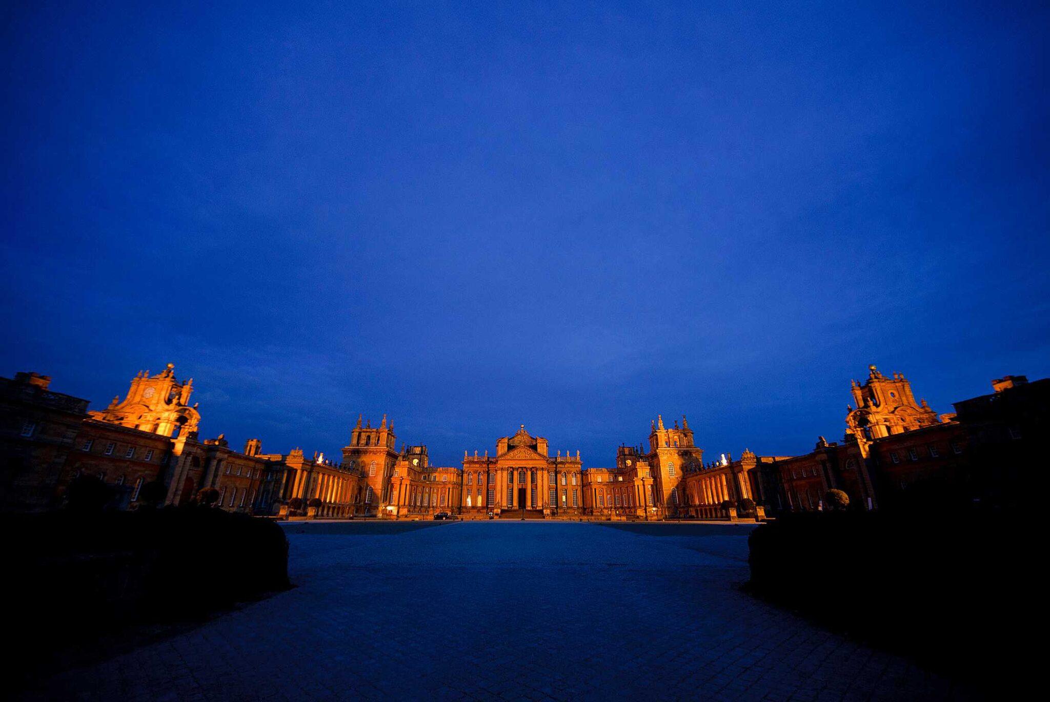 Blenheim Palace wedding at night