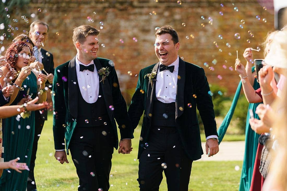 Gay wedding bubbles