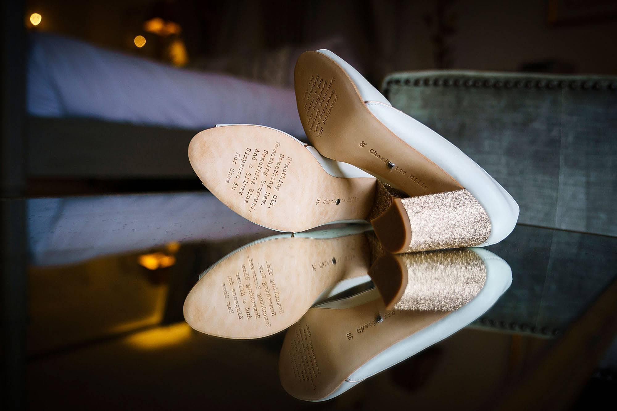 bridal shoes with text on sole