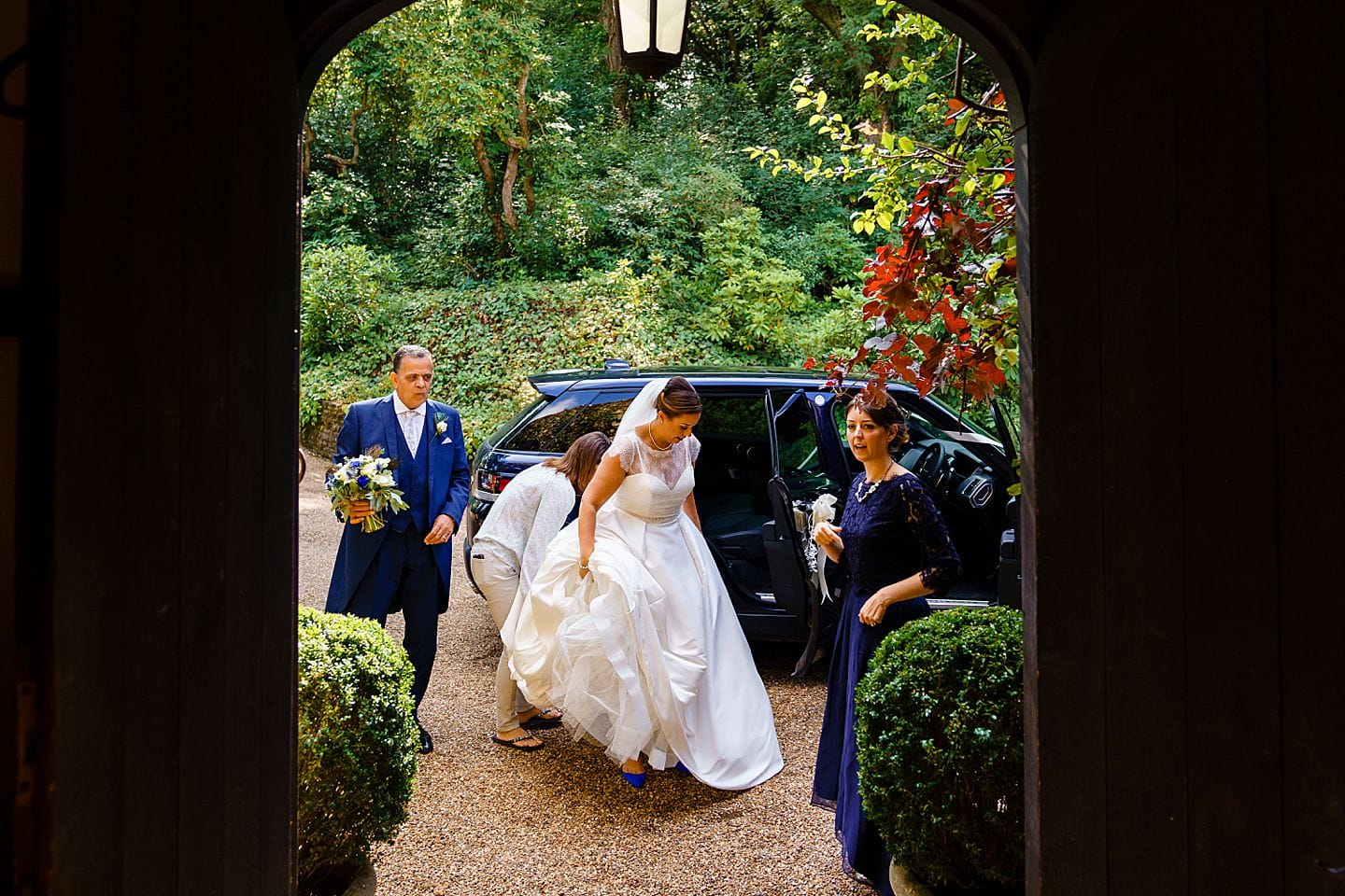 Bride arriving at Ramster Hall