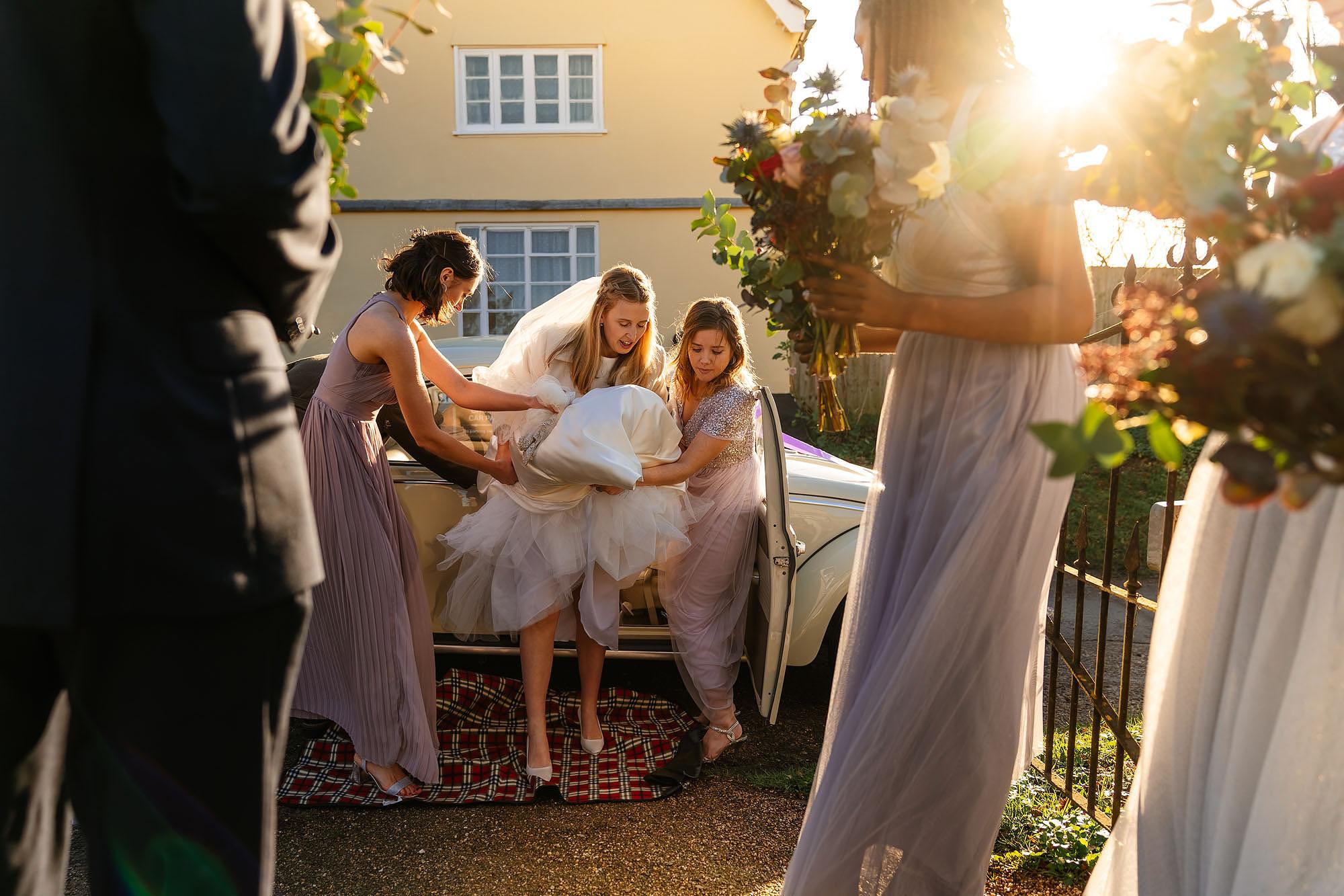 Blythburgh church winter wedding bride