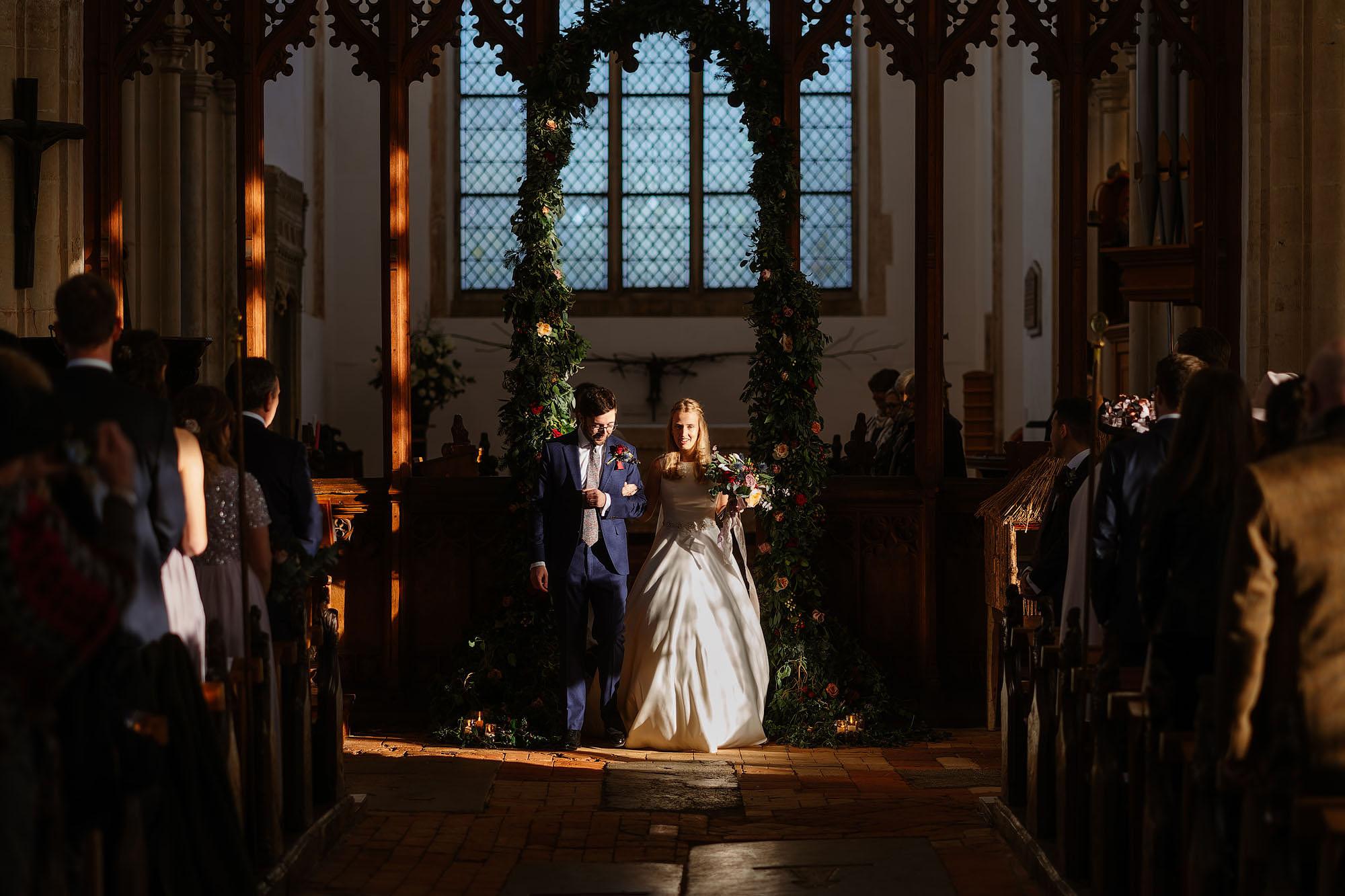 Blythburgh church winter wedding light